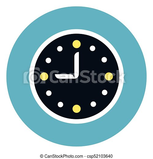 Clock Icon On Round Blue Background - csp52103640