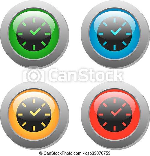 Clock icon on square button - csp33070753