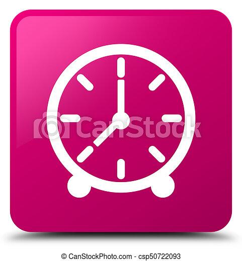 Clock icon pink square button - csp50722093