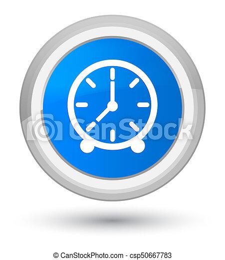 Clock icon prime cyan blue round button - csp50667783