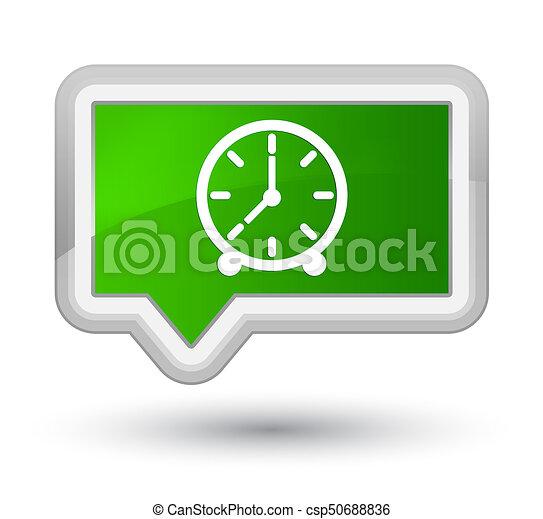 Clock icon prime green banner button - csp50688836