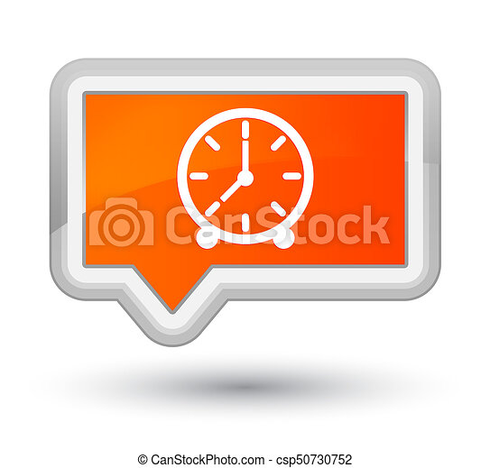 Clock icon prime orange banner button - csp50730752