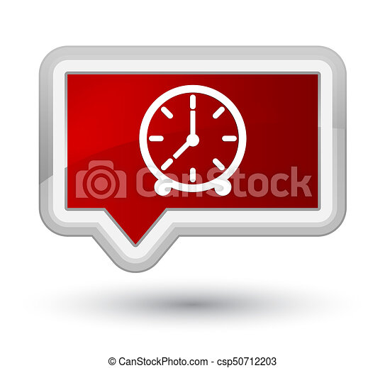 Clock icon prime red banner button - csp50712203