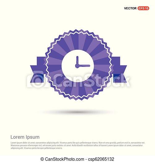 clock Icon - Purple Ribbon banner - csp62065132