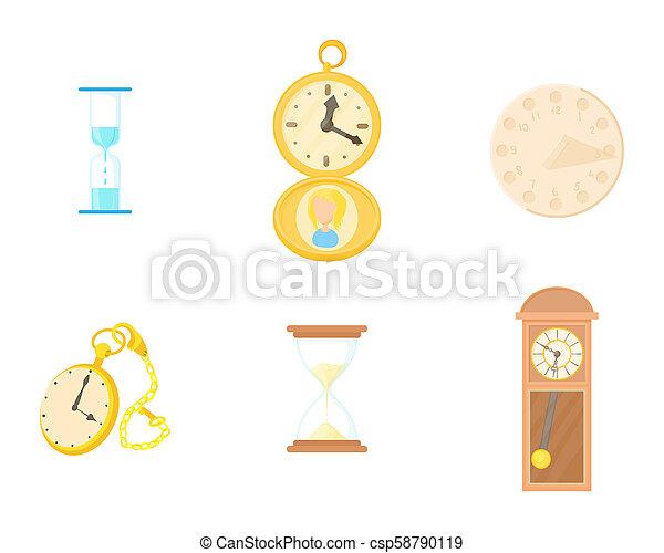 Clock icon set, cartoon style - csp58790119