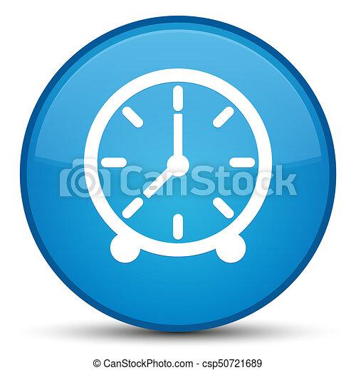 Clock icon special cyan blue round button - csp50721689