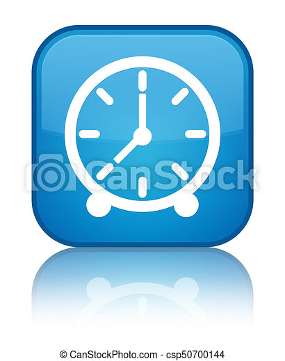 Clock icon special cyan blue square button - csp50700144