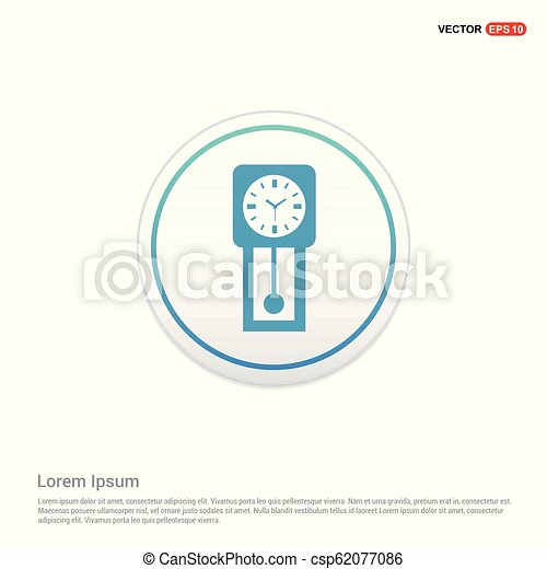 clock icon - white circle button - csp62077086