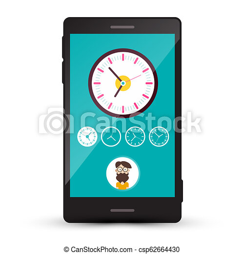 Clock Icons and Man Avatar on Cellphone Screen. Vector Mobile Time Zone Phone App. - csp62664430