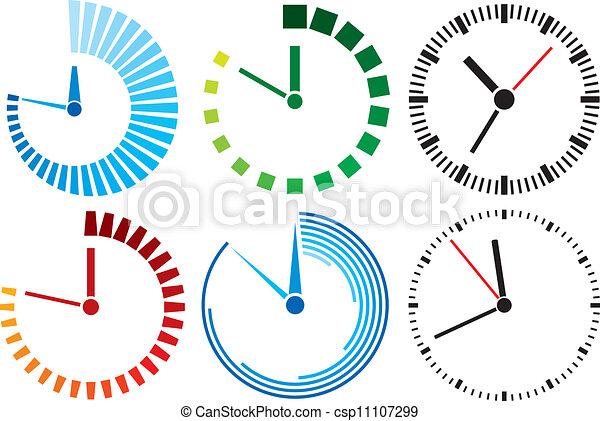 clock icons (clock set) - csp11107299