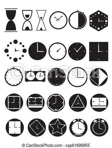 Clock icons on a white background. - csp61696855