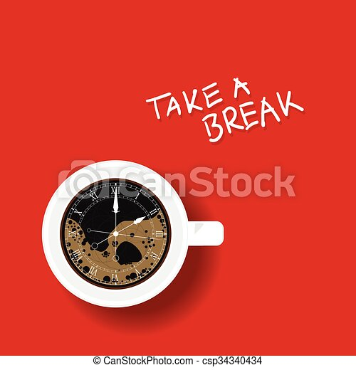clock in cup of coffee illustration - csp34340434