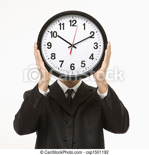 Clock in front of face. - csp1501192