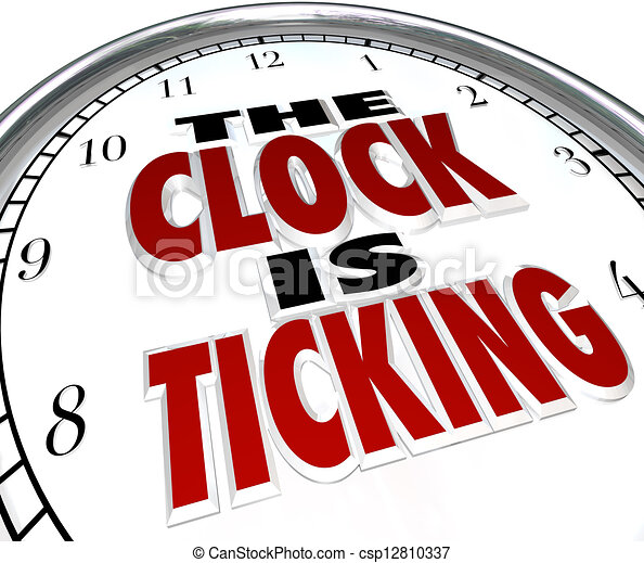 Clock is Ticking Words Deadline Approaching - csp12810337