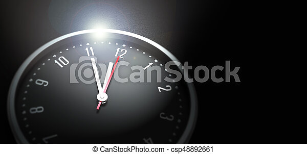 clock on black background - csp48892661