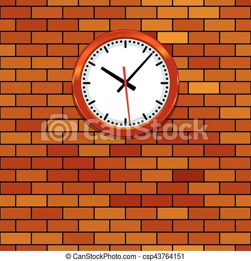 Clock on brick wall. Illustration of the clock on brick wall.
