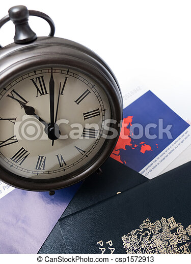 Clock on travel documents and passport - csp1572913