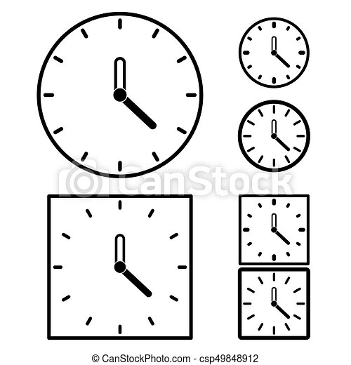 clock set on white background - csp49848912