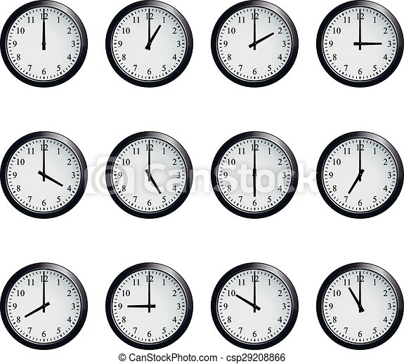 Clock Set Timed At Each Hour On White Background Set Of