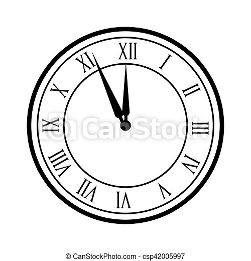 Clock Time Icon Clock Device Time Over White Background Vector