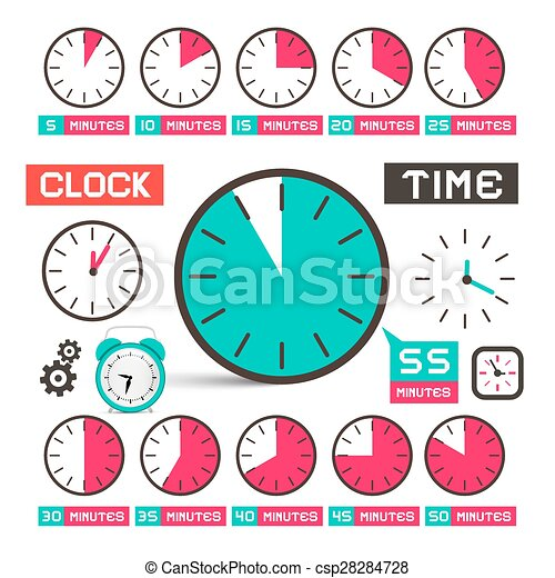 Clock - Time Vector Icons Set Isolated on White Background - csp28284728