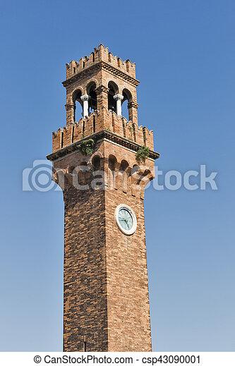 Clock tower at San Stefano square in Murano, Venice, Italy. - csp43090001