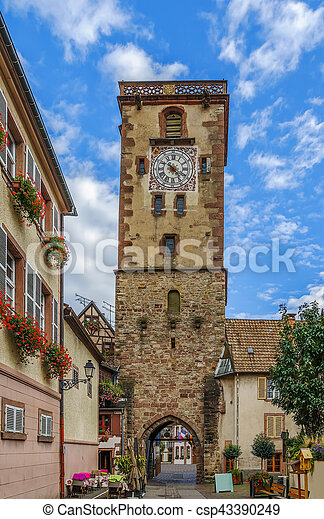 Clock tower, Ribeauville, Alsace - csp43390249