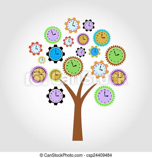 Clock tree. For clock flowers see my portfolio - csp24409484