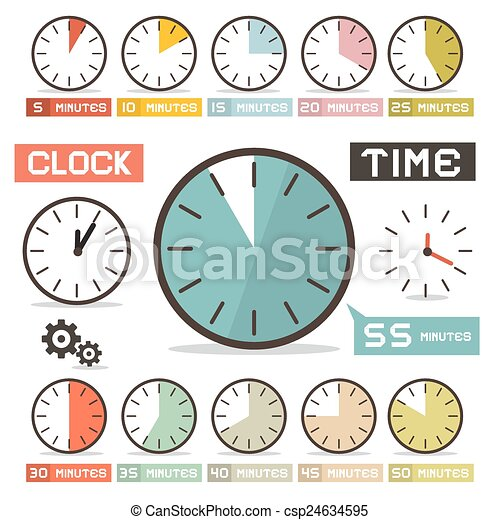 Clock Vector Set in Flat Design Style - csp24634595