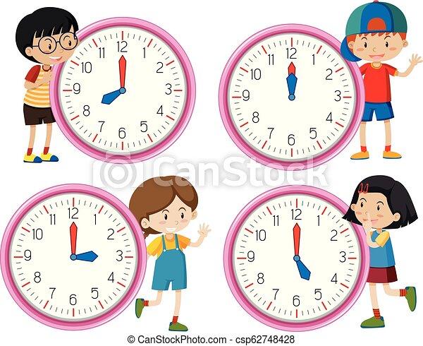 Clock with children character - csp62748428
