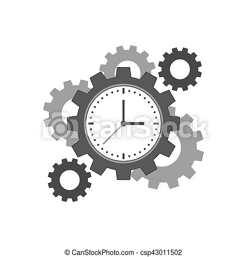 Clock with cogwheels icon. Time management concept. Symbol in trendy flat style isolated on white background. Illustration element for your web site design, logo, app, UI.
