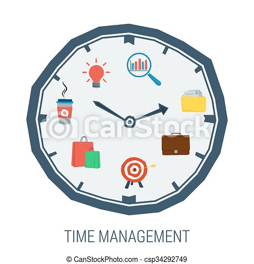 clock with elements inside concept time management vector eps rh canstockphoto co uk student time management clipart time management clipart free