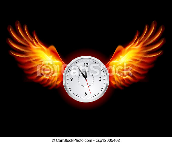 Clock with fire wings - csp12005462