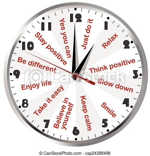 Clock with motivational and positive thinking messages - csp24388498