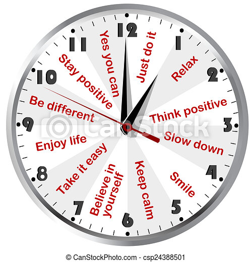 Clock with motivational and positive thinking messages - csp24388501