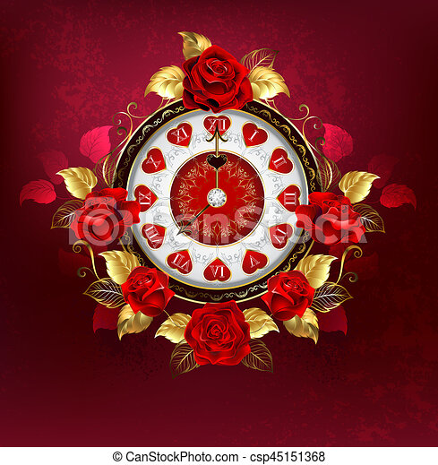 Clock with red roses - csp45151368
