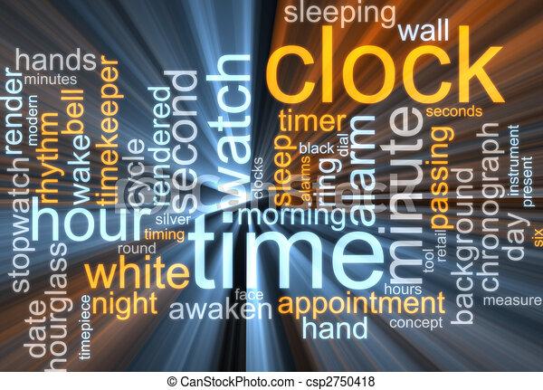 Clock word cloud glowing - csp2750418