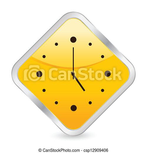 clock yellow square icon - csp12909406