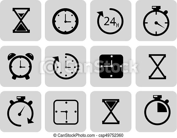 Clocks icons set on grey Time, chronometer. - csp49752360