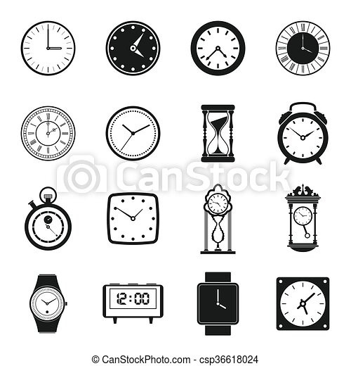 Clocks icons set, simple style - csp36618024