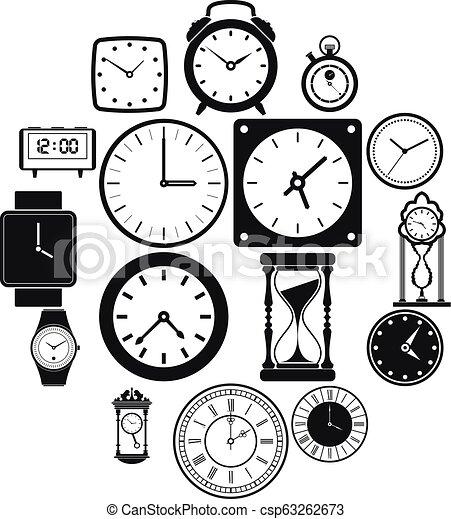 Clocks icons set, simple style - csp63262673