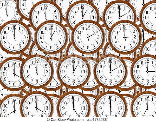 Antecedentes de relojes de pared con marco de madera marrón - csp17382861