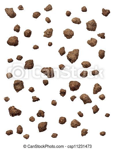 clods, sporcizia, bianco, isolato - csp11231473