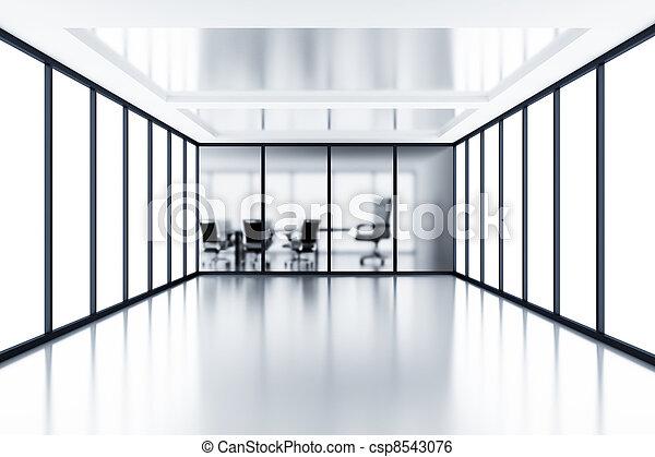 cloison, salle, réunion, moderne, verre, derrière, box, vide - csp8543076
