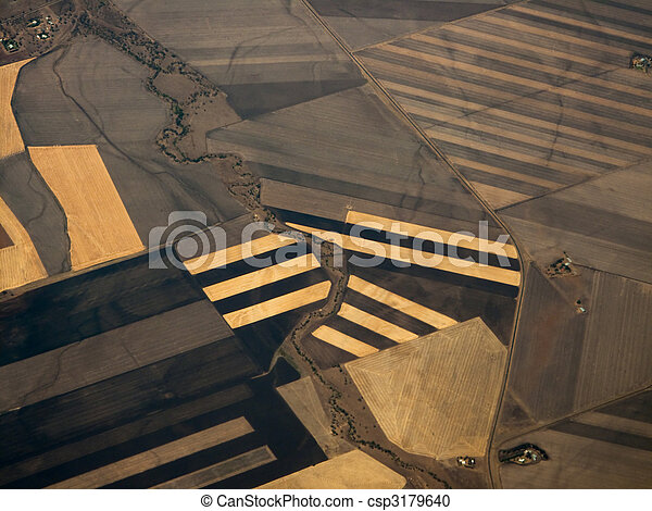 Close Aerial View of Crop Patterns of Queensland Plains - csp3179640