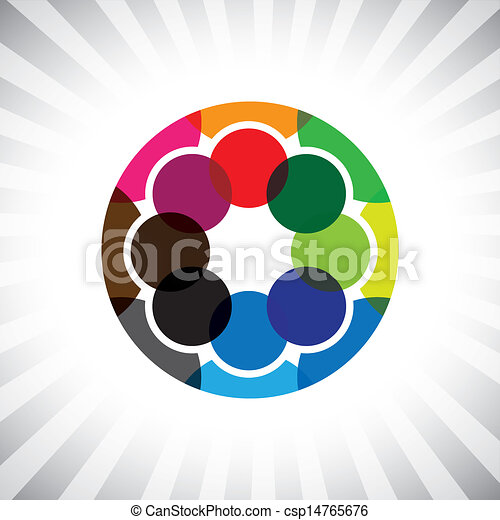 close circle of buddies, pals & friends get-together- vector gra - csp14765676
