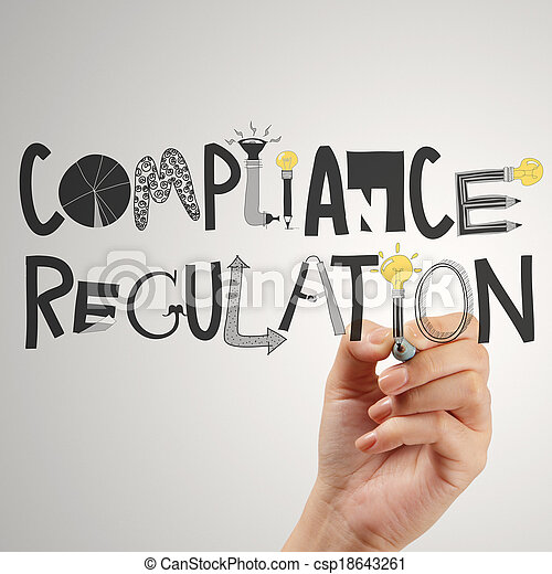 close of hand pointing to Compliance Regulation designwords as concept - csp18643261