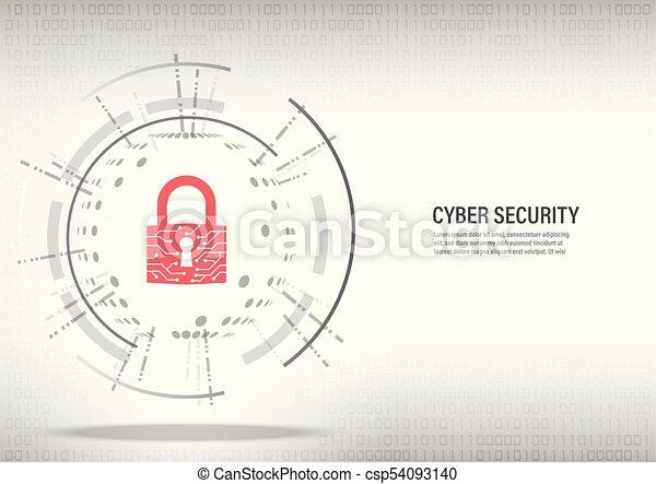 Close padlock on digital white background. - csp54093140