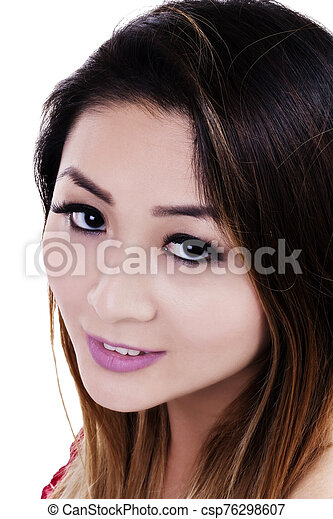 Close Portrait Attractive Asian American Woman On White Background - csp76298607