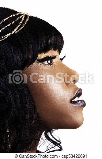 Close Profile Portrait Beautiful African American Woman - csp53422691